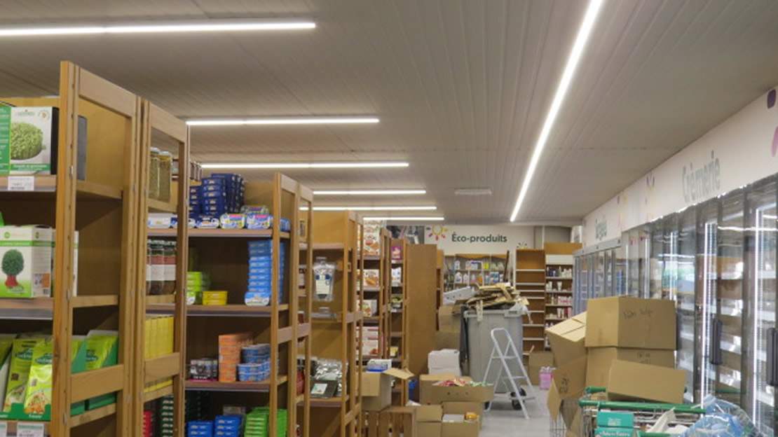 Eclairage surface de vente par rail Leds